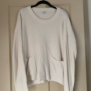 Off-white / cream sweater with front pockets